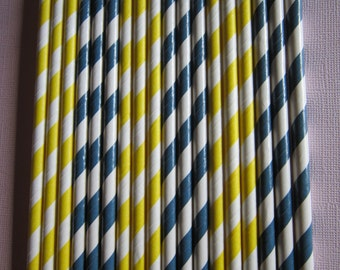 Navy Blue & Yellow Paper Straws ~ Drinking Straws ~ Party Straws