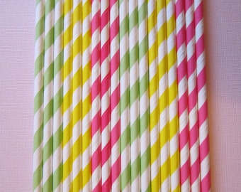 Lime Green Yellow Hot Pink Paper Straw ~ Drinking Straws ~ Party Straw