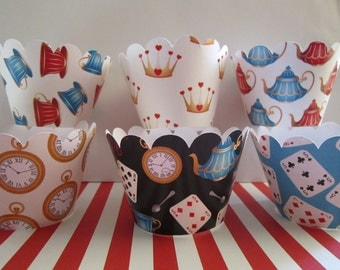 12 Standard Size Alice in Wonderland Inspired Cupcake Wrappers