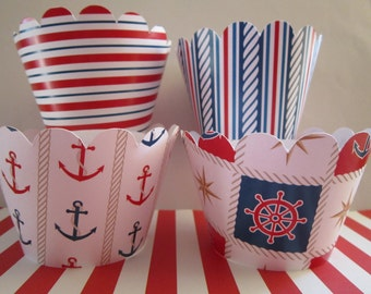 12 Standard Size Nautical Red White Blue Boat Cupcake Wrappers