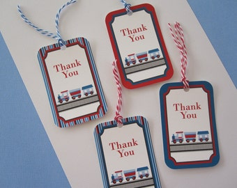Train Party ~ Thank You Tags ~ Hanging Tags ~ Set of 8