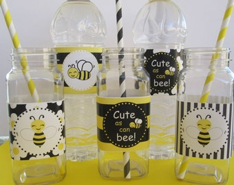 10 Black & Yellow Bee Water Bottle Wrappers