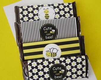 12 Black & Yellow Bee Hershey Wrappers