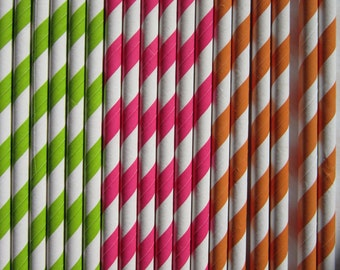 Lime Green Hot Pink Orange Paper Straw ~ Drinking Straws ~ Party Straws