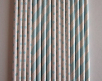24 Light Blue Striped & Light blue Small Dot Paper Straws
