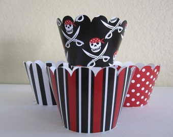 12 Pirate Cupcake Wrappers