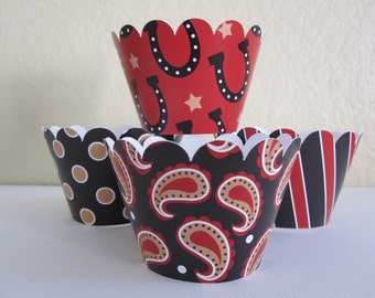 12 Western Cupcake Wrappers