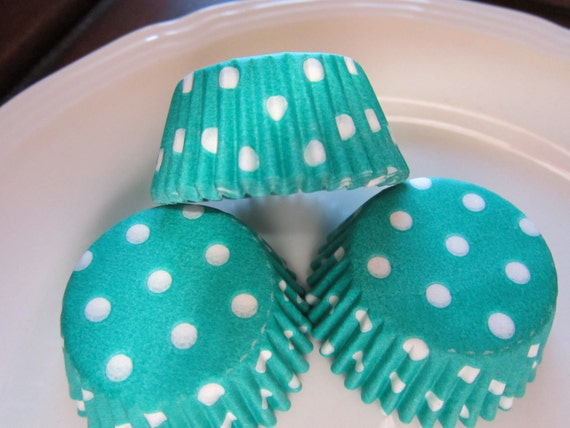 Jade Green with White Dot Baking Cupcake Cups Standard or Mini