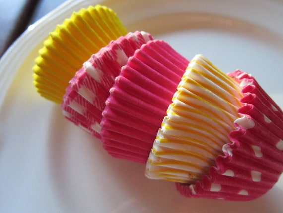 60 Assorted Hot Pink & Yellow Mini Baking Cup-Cake Pop-Candy Cup