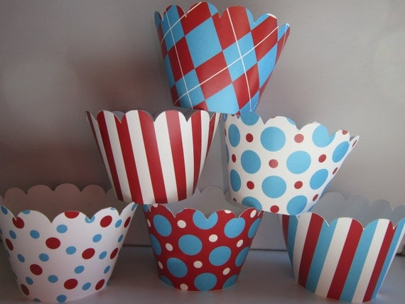 Cupcake Wrappers ~ Circus Party ~ Carnival  ~ Aqua & Red