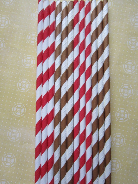 24 Brown & Red Paper Straws