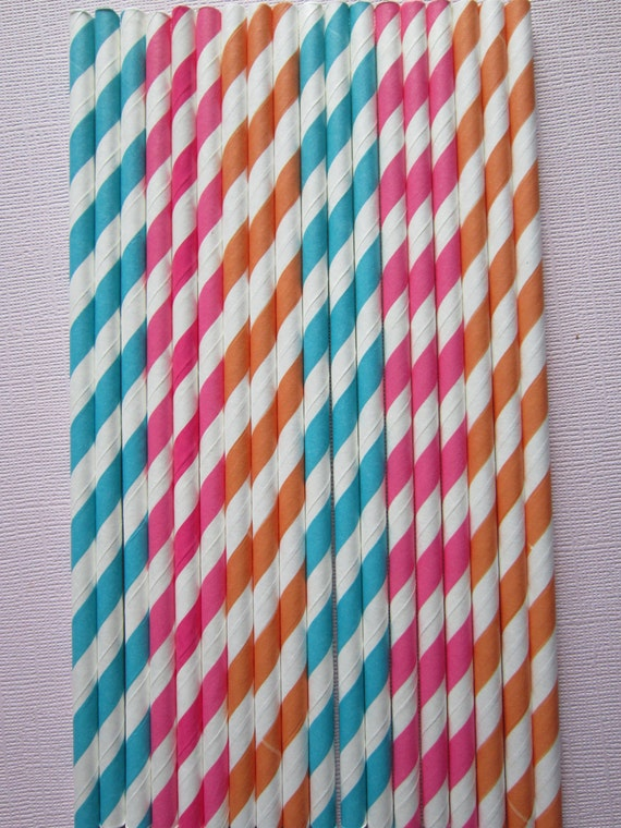 Hot Pink Orange Peacock Tropical Vintage Retro Paper Drinking Straws