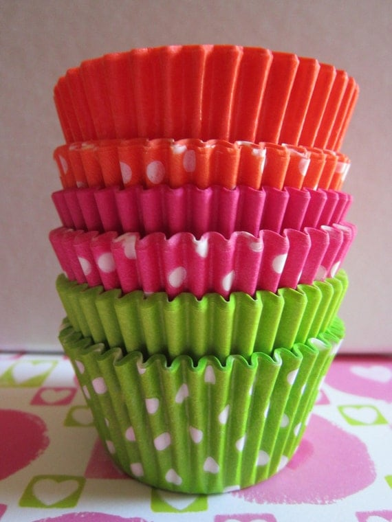 Lime Green Orange Hot Pink Mini or Standard Baking Liners
