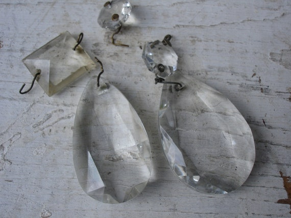 Vintage Glass Chandelier Pieces for Repurpose