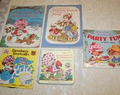Vintage 1980's Strawberry Shortcake Lot of 5 Books Record Coloring