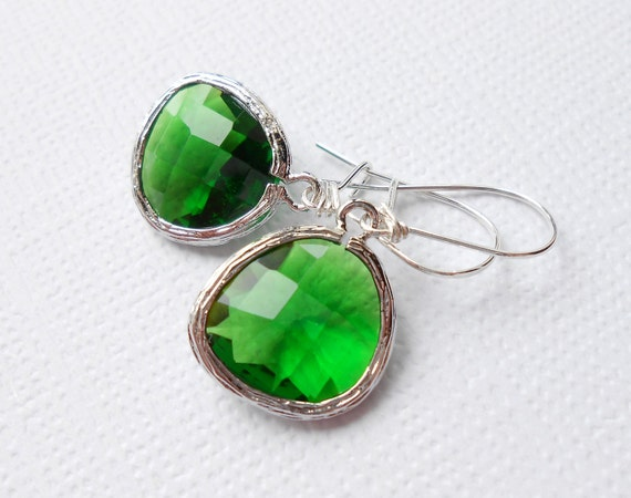 Emerald Green Glass Pendant Earrings, Silver Framed with Sterling Silver Ear Wires - Simple Classic Everyday Jewelry