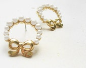 Round pearls earrings- golden bow earrings- small little glass pearls- shabby chic style bridesmaid gift