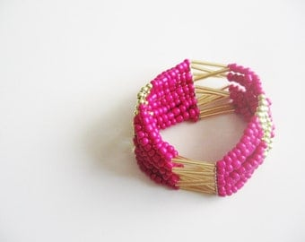 Beads bracelet- neon pink with golden accents- glamour shabby chic style cuff