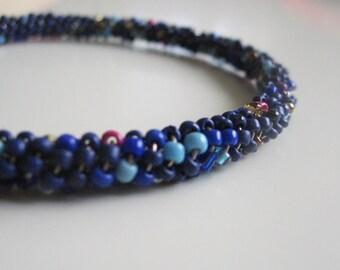 Blue slim beaded bracelet- romantic shabby chic bracelet- very delicate dark blue beads