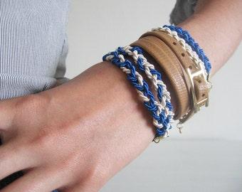 Blue braided nautical bracelet- dainty silk cord bracelet- golden end caps