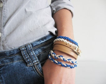 Stack nautical bracelet- dainty blue and ivory silk cord bracelet- golden end caps