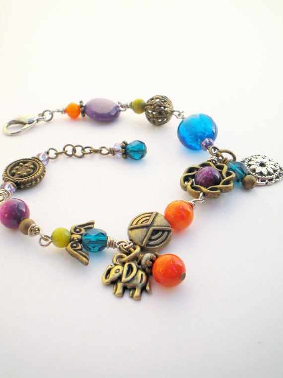 Bright Boho Multi Colored Charm Bracelet with Elephant and Flower