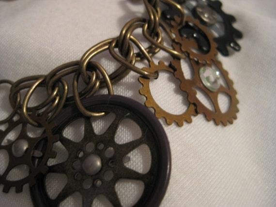 Brass Gears Charm Bracelet - Steampunk Style