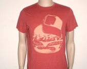 red vintage hamburger tshirt for men, hamburger with cap printed tee
