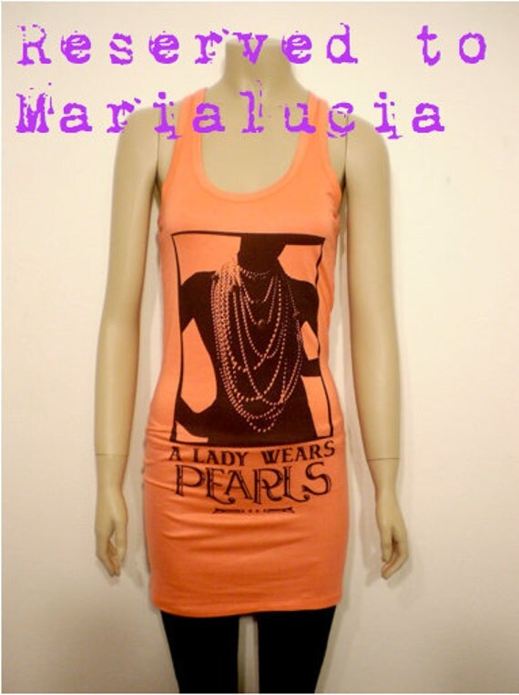 Coral orange peach Spring tank for women - very long tank - dress - vest - black lady shape with pearls necklace