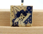 Black and Beige Adorable Vintage Lady with Polka Dots Wood Alphabet Tile Pendant