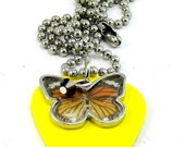 Yellow Guitar Pick Necklace Butterfly and Brown Swavorski Crystal