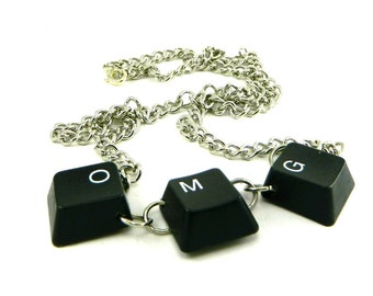 Recycled Computer Unisex Necklace Keyboard OMG
