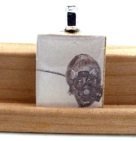Rat in a Gas Mask Wood Scrabble Tile Pendant