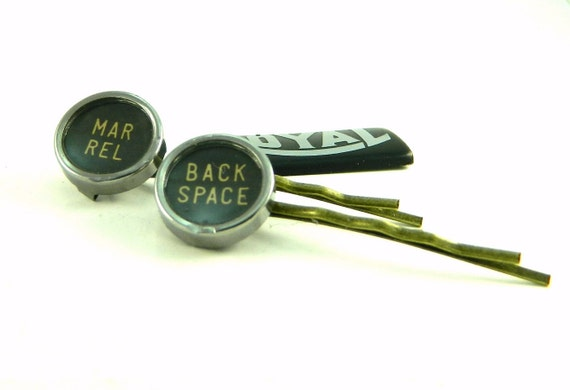 Bobby Pins Steampunk Industrial Vintage Typewriter Keys Back Space and Margin Key Royal Deluxe