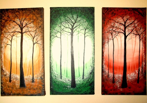 Triptych Abstract Tree Forest Painting Large Three Sections