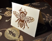 Apis Melifora Honey Bee Hand Printed Blank Card 4x5