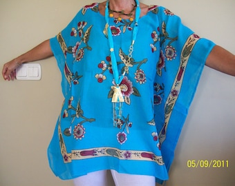 Free size / Plus size Poncho-Tunic -Caftan made of Traditional cotton material from Turkey