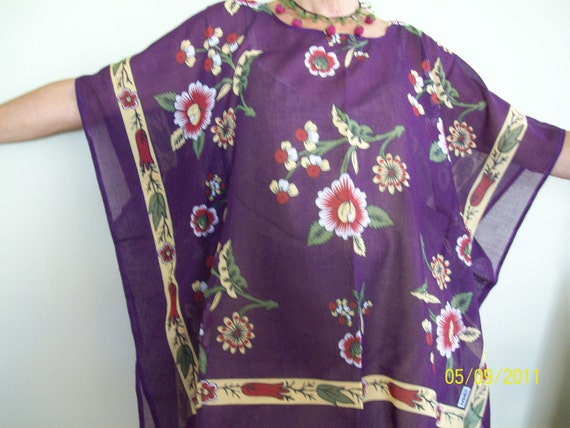Free-size/plus size poncho-tunic made of traditional Turkish cotton material