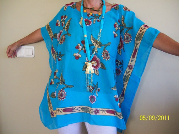 Free size / Plus size Poncho-Tunic -Caftan made of Traditional cotton material form Turkey