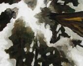 "Foggy trees giclee print of original painting 8""x10"""