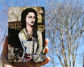 """The Immortal Pomegranate 4x6"""" portrait print mounted on wood with hand painted sides"""