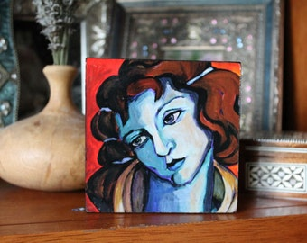 Renaissance woman 4x4 mounted on wood with hand painted sides