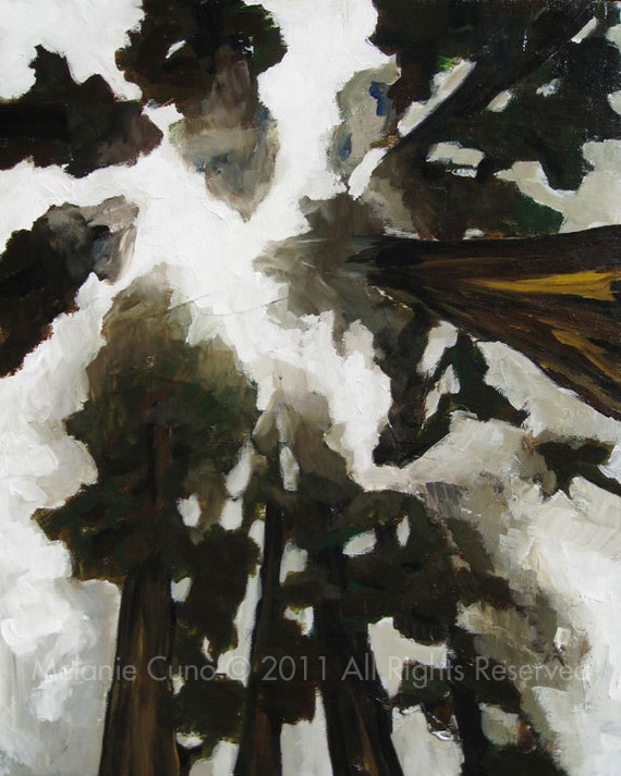 "Foggy trees giclee print of original painting 8""x10"""