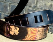 Handmade leather guitar strap - JIMI HENDRIX posters