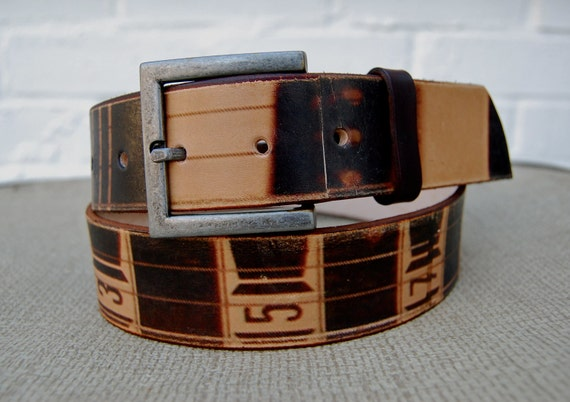 FREE SHIPPING / Leather brown belt -  guitar numbered fretboard