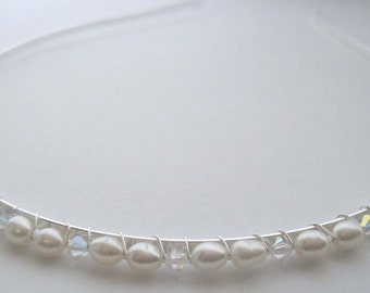 Pearl Grecian Swarovski Crystal & Freshwater Pearl Simply Divine Tiara - perfect for a Bride or Bridesmaid or Prom