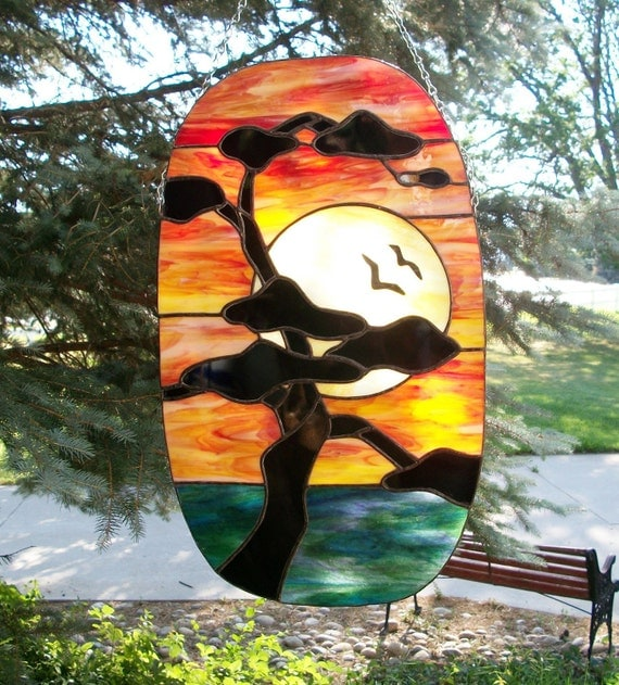 Stained Glass Sunset  Panel