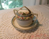 Hand Painted Nippon Sugar Bowl with Attached Plate