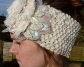 Winter Snow Flower Hand Knitted Embellished Headband
