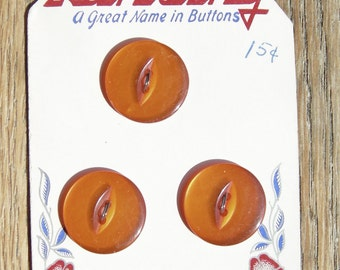 3 Fiery Orange Plastic Vintage Buttons on Lansing Card